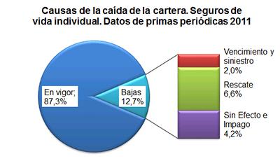 Causas de la caída de la cartera. Seguros de vida individual. Datos de primas periódicas 2011